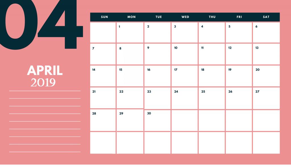 Cute April 2019 Desk Calendar