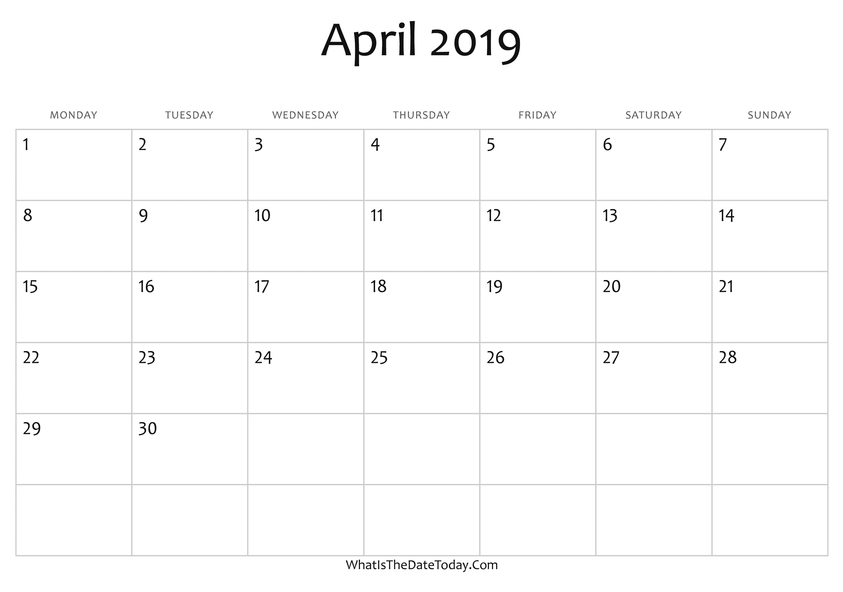 Editable April 2019 Calendar Document