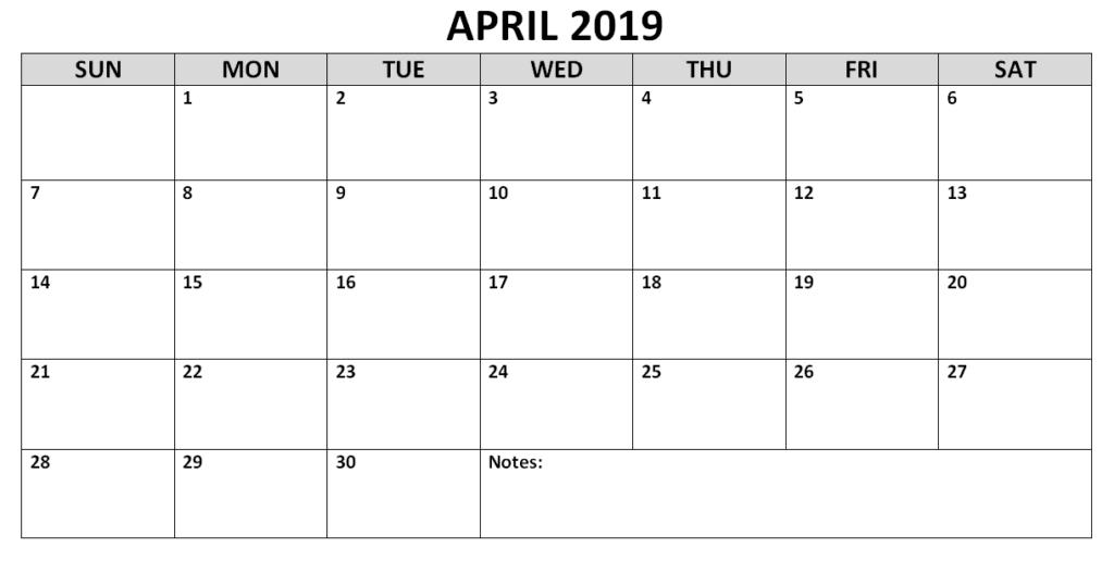 Editable April 2019 Calendar Landscape
