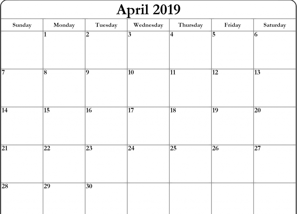 Editable April 2019 Calendar Printable Template