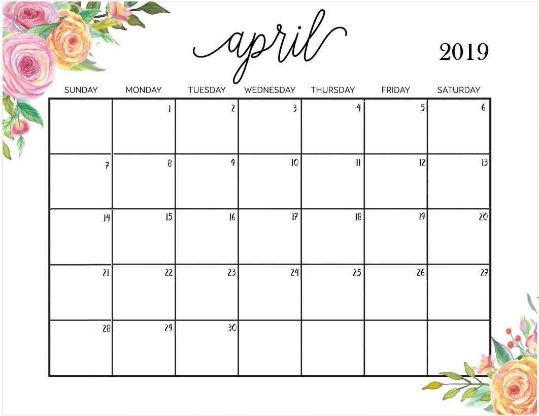 Floral April 2019 Calendar Tumblr