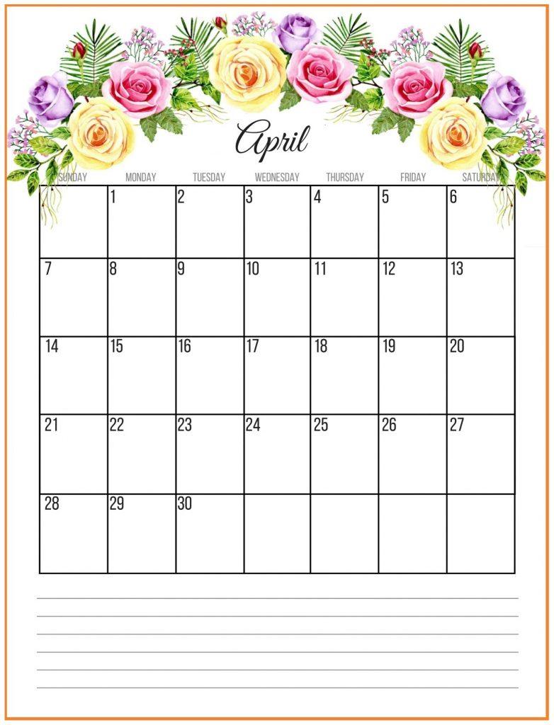 Floral April 2019 Wall Calendar