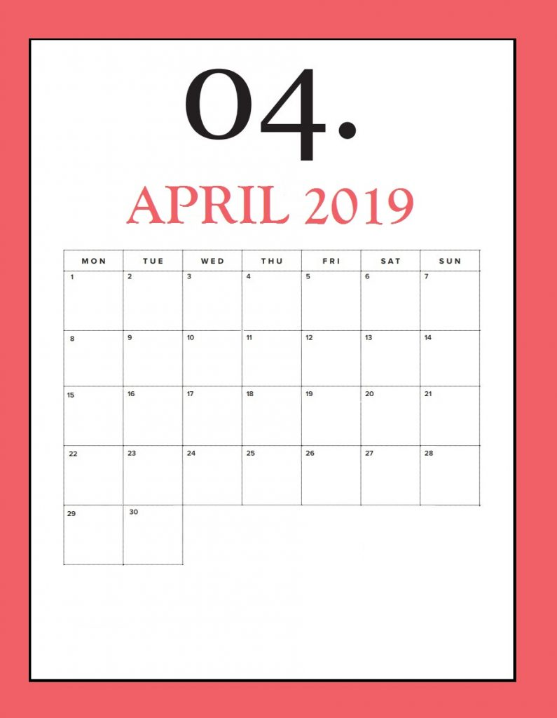 Free April 2019 Wall Calendar