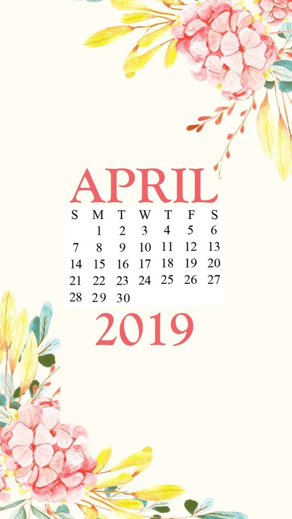 Free April 2019 iPhone Calendar