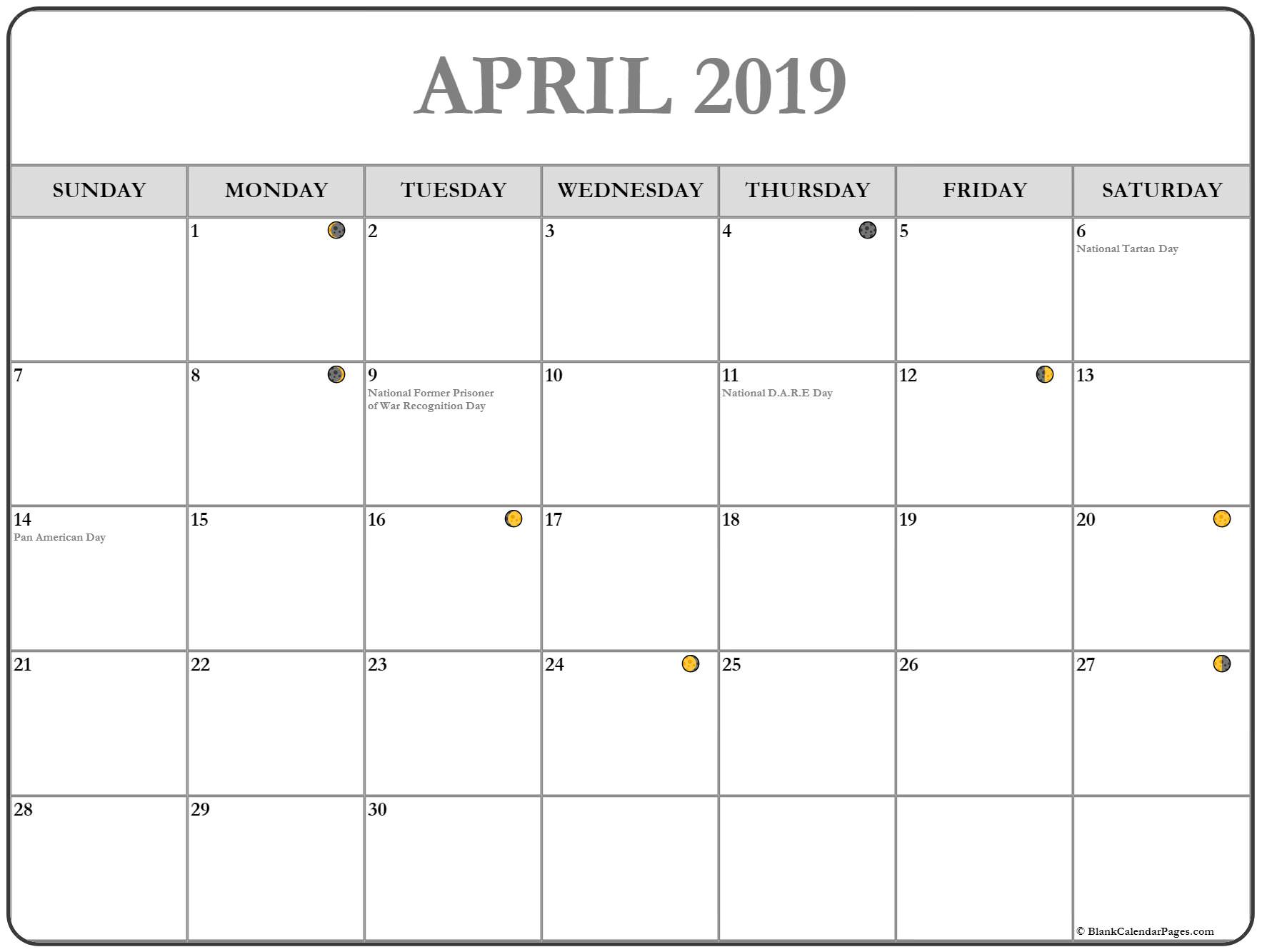 Full Moon Calendar April 2019