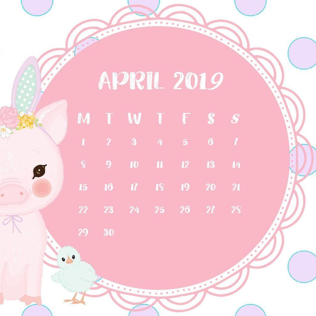 Pink Calendar April 2019