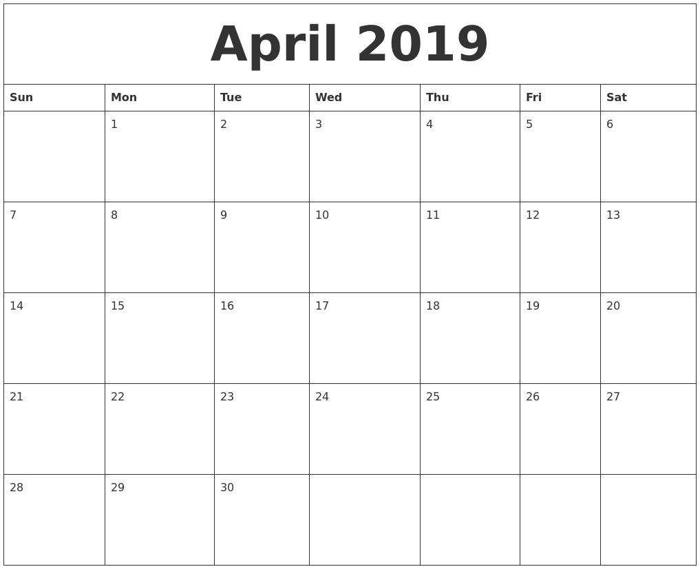 Print April 2019 Blank Calendar