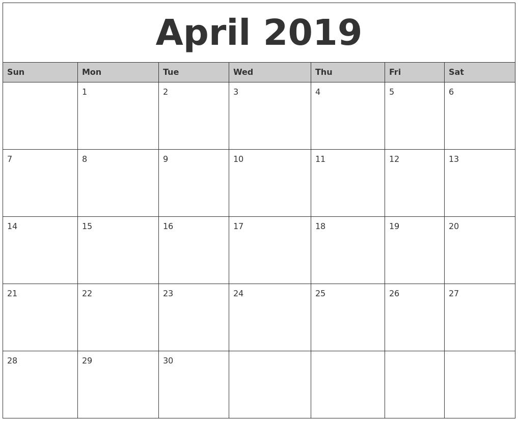Print April 2019 Calendar Template
