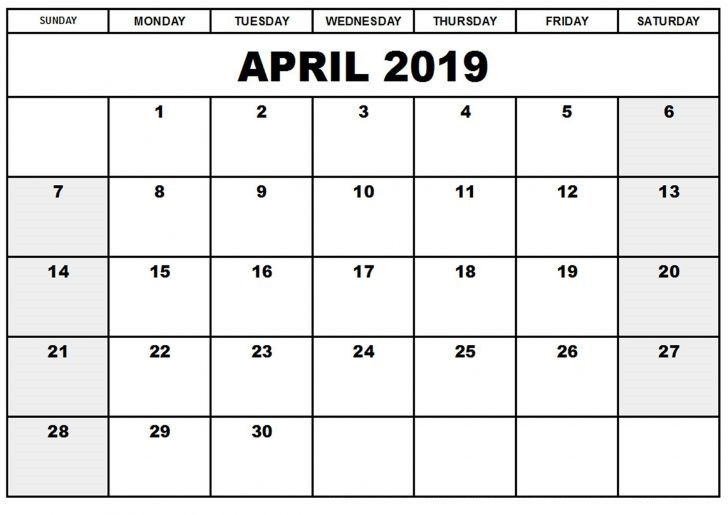 Printable April 2019 Calendar Document