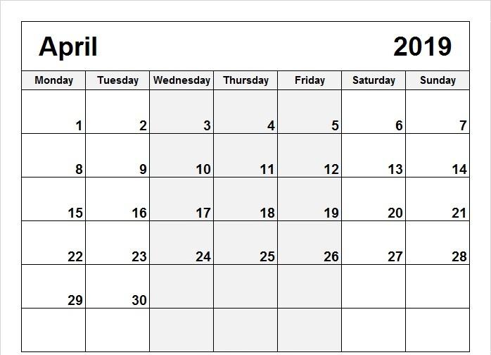 Printable April 2019 Calendar Singapore