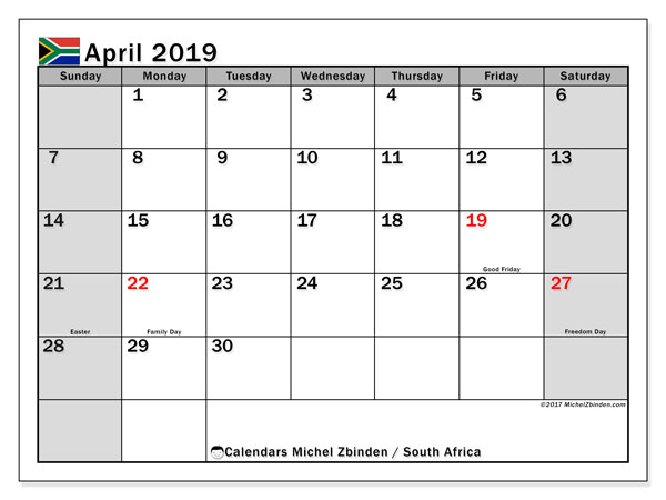 Printable April 2019 Calendar South Africa