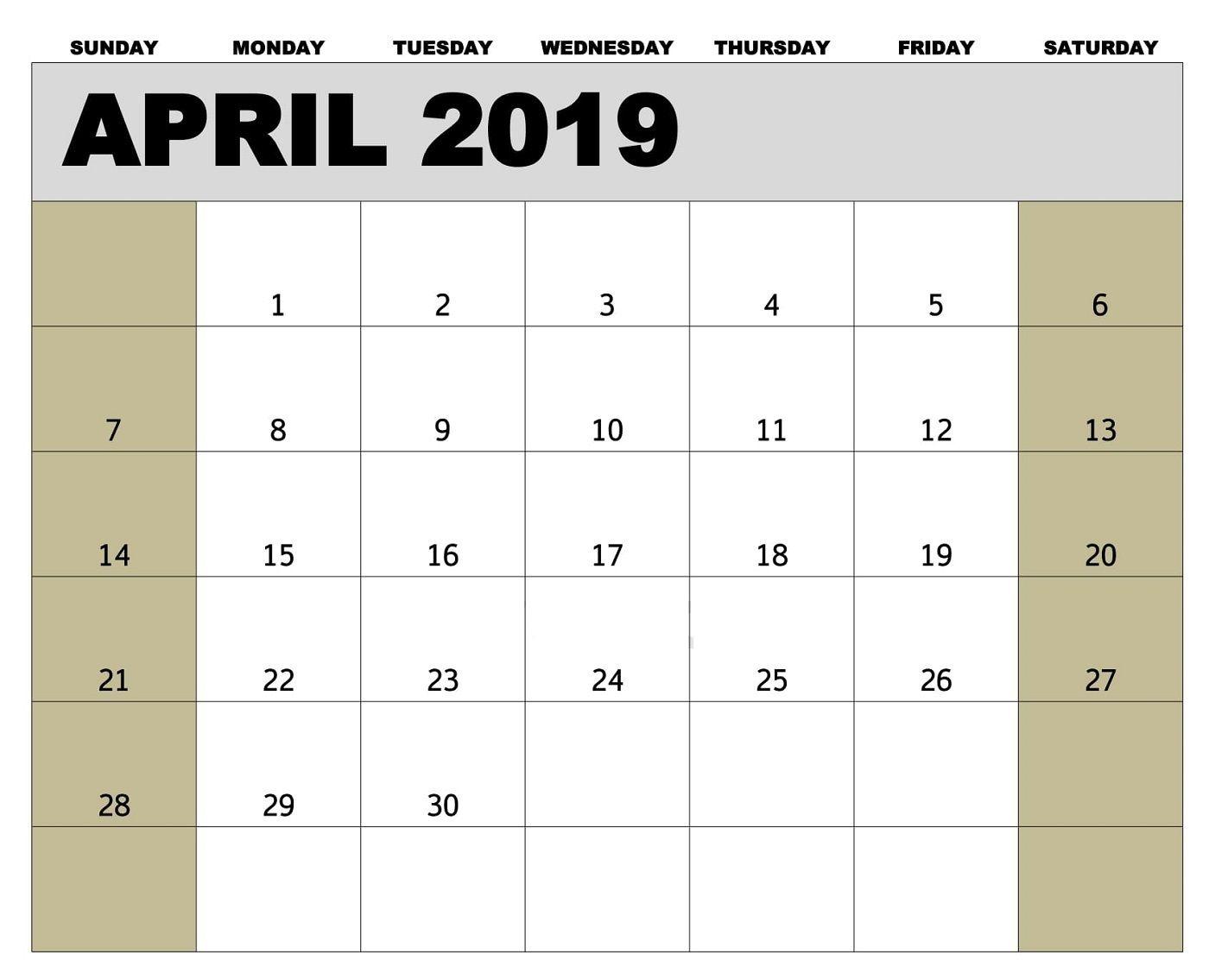 Printable April 2019 Calendar Tamil