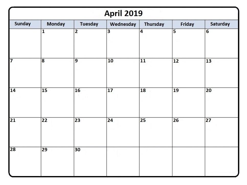 Printable April 2019 Calendar Tumblr