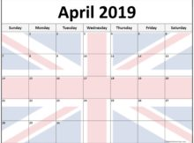 Printable April 2019 Calendar UK