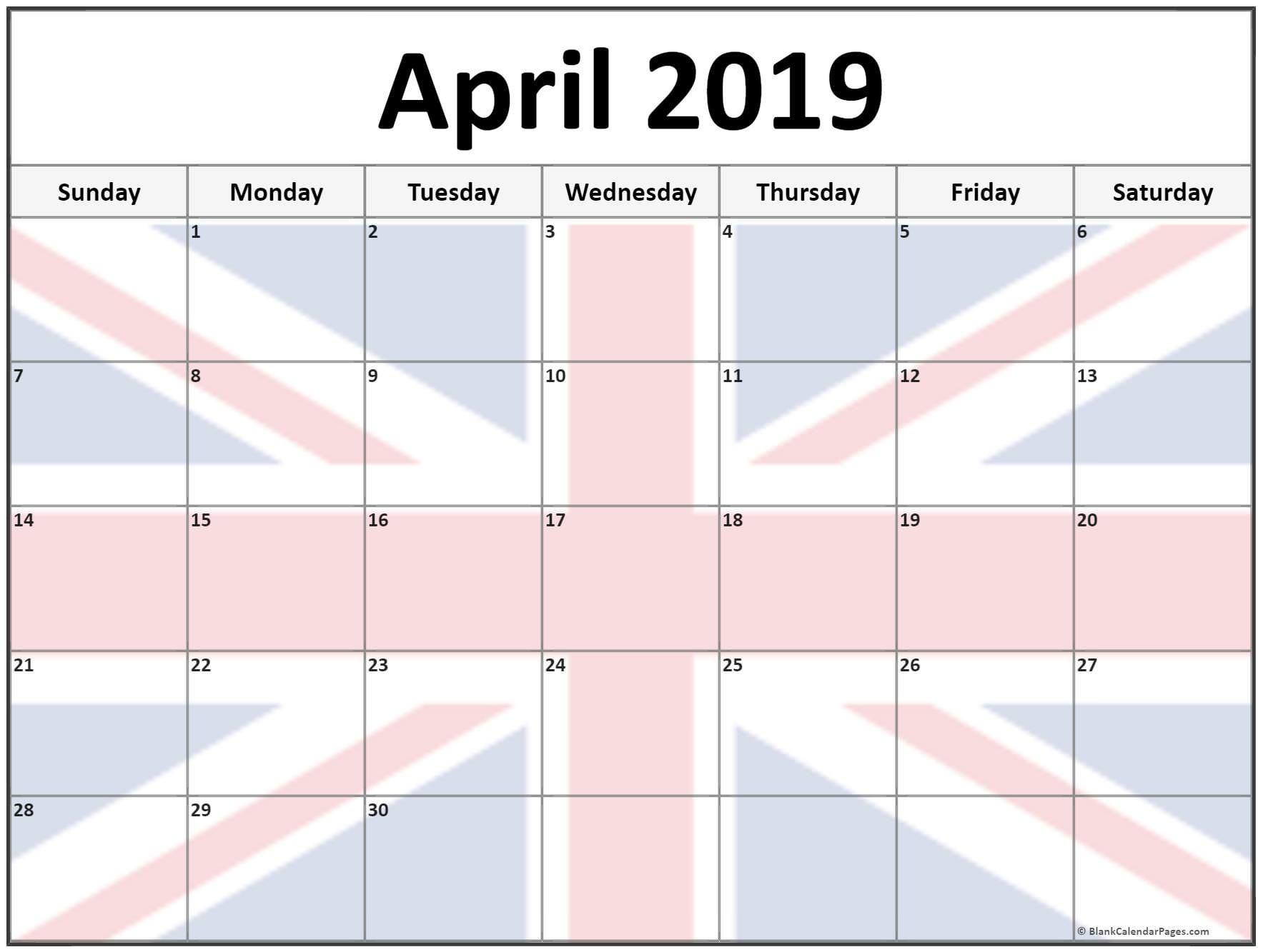 Printable April 2019 Calendar UK
