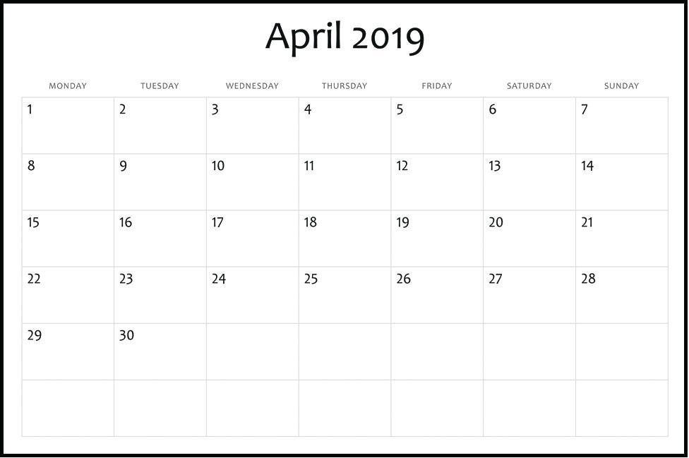Printable April 2019 Editable Calendar