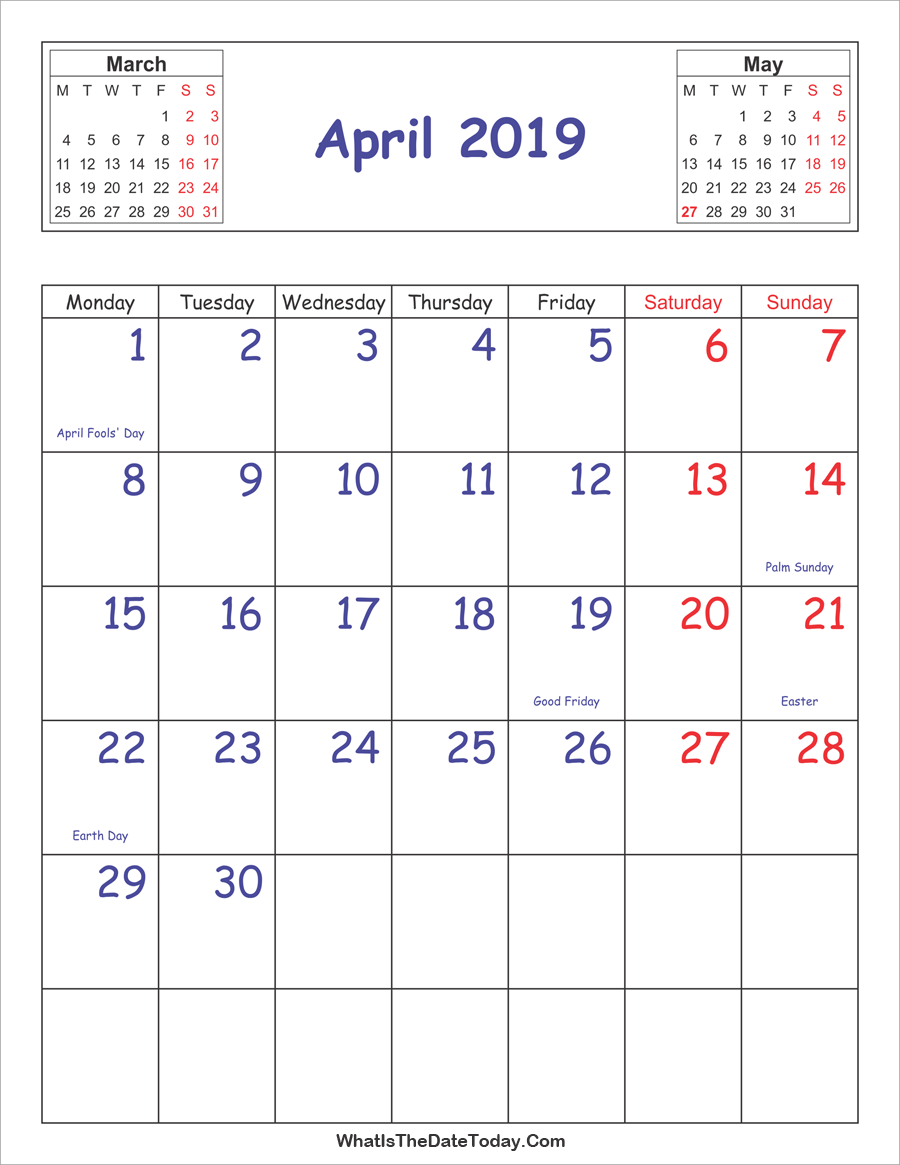Printable April 2019 Vertical Calendar