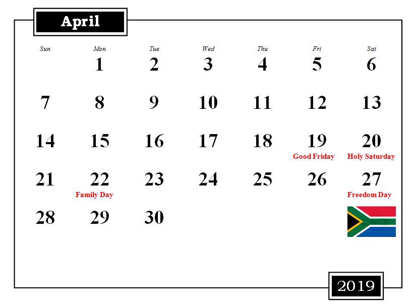 South Africa 2019 April Calendar