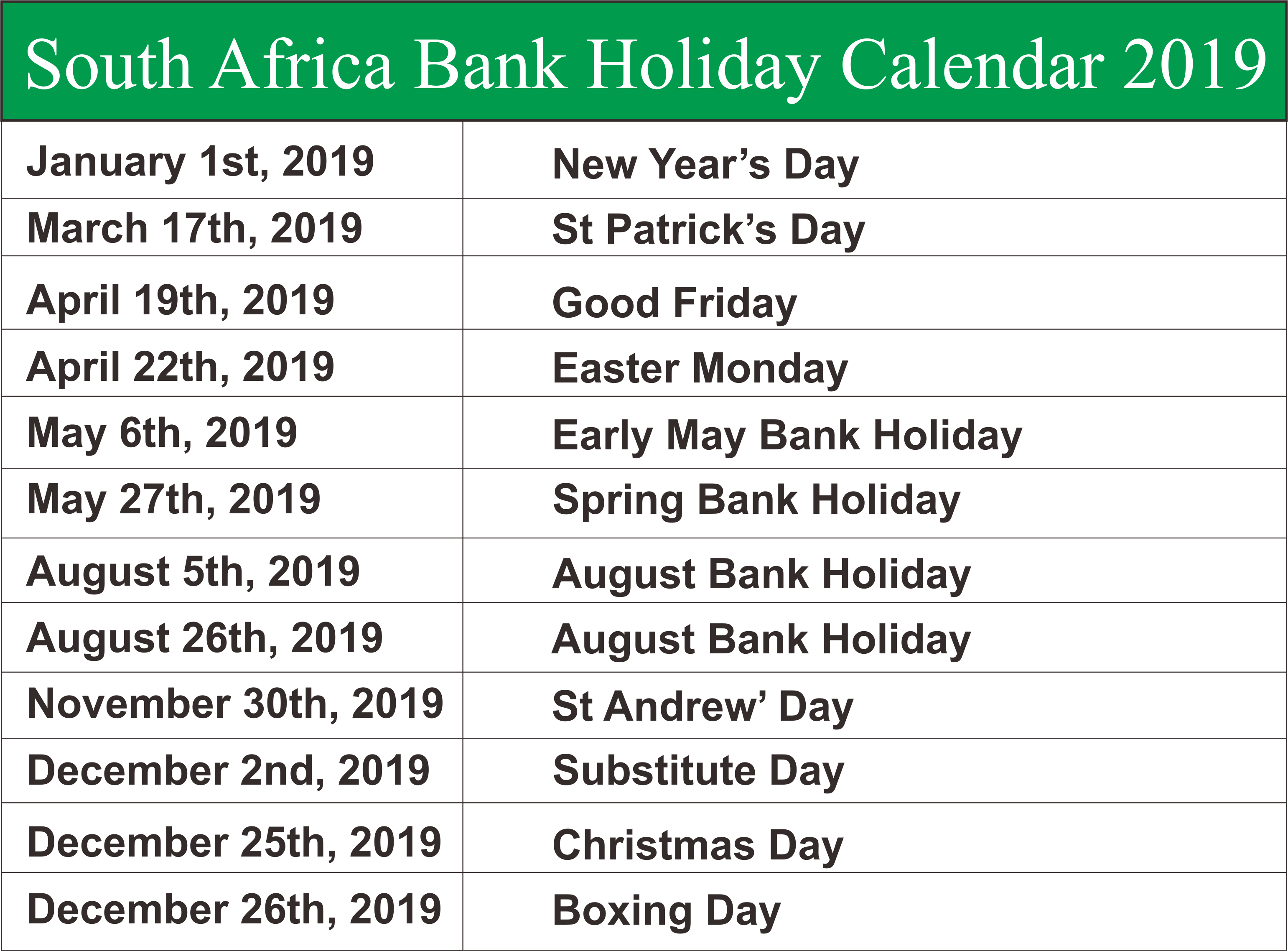 South Africa Bank Holiday Calendar 2019