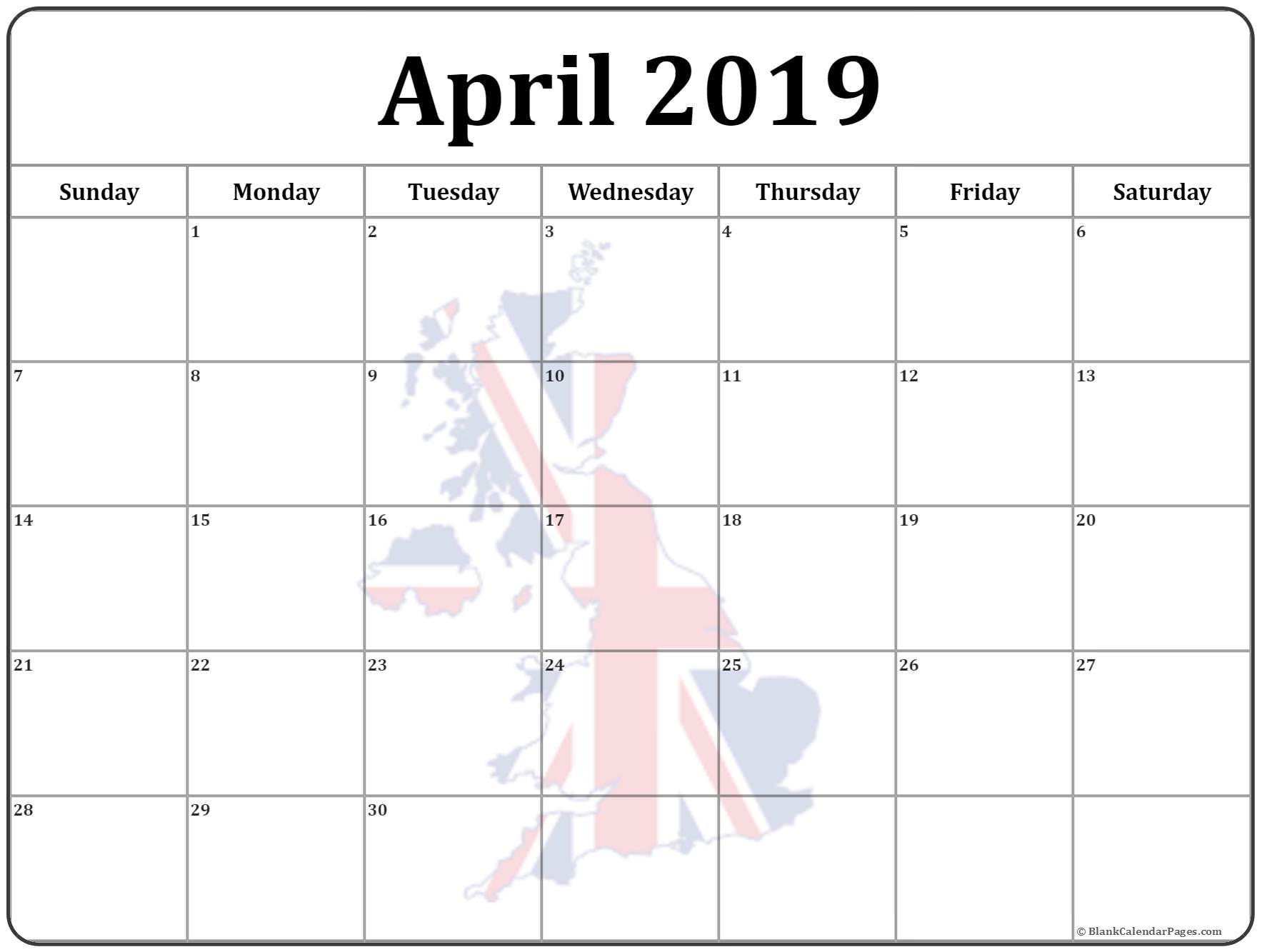 UK Calendar For April 2019