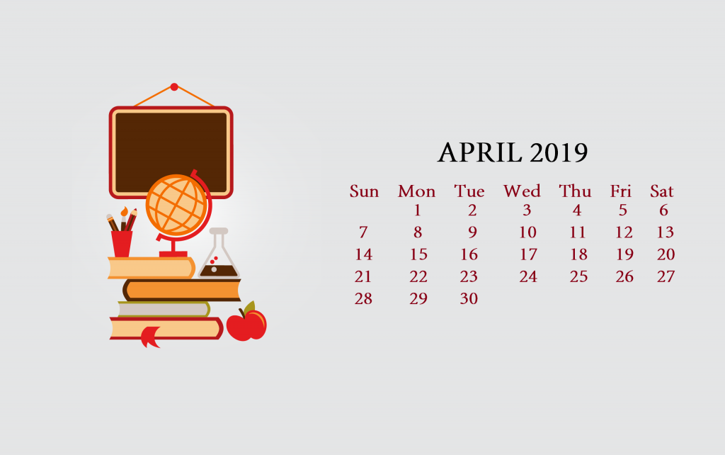 Unique April 2019 Calendar Screensaver