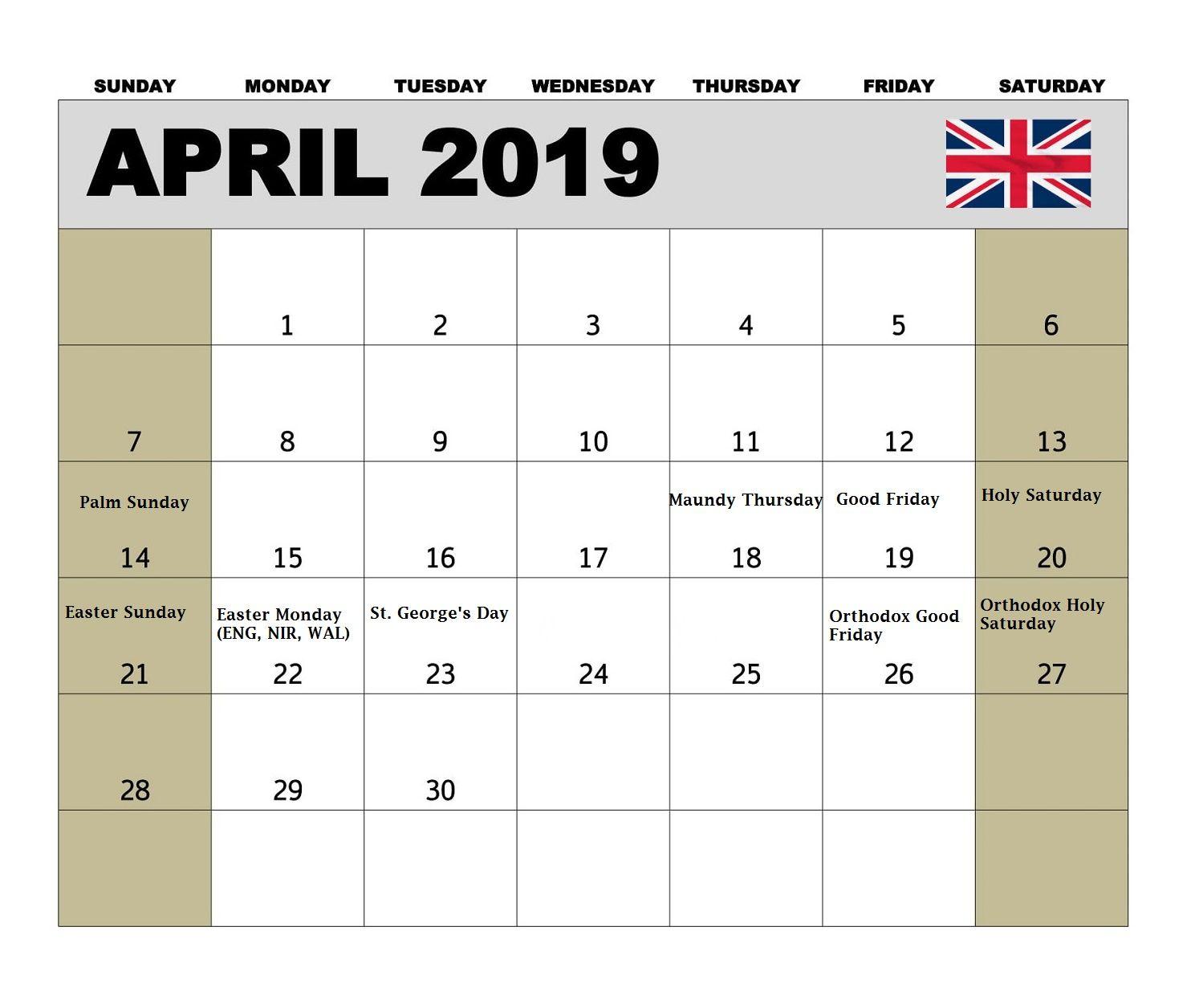 United Kingdom April 2019 Holidays Calendar