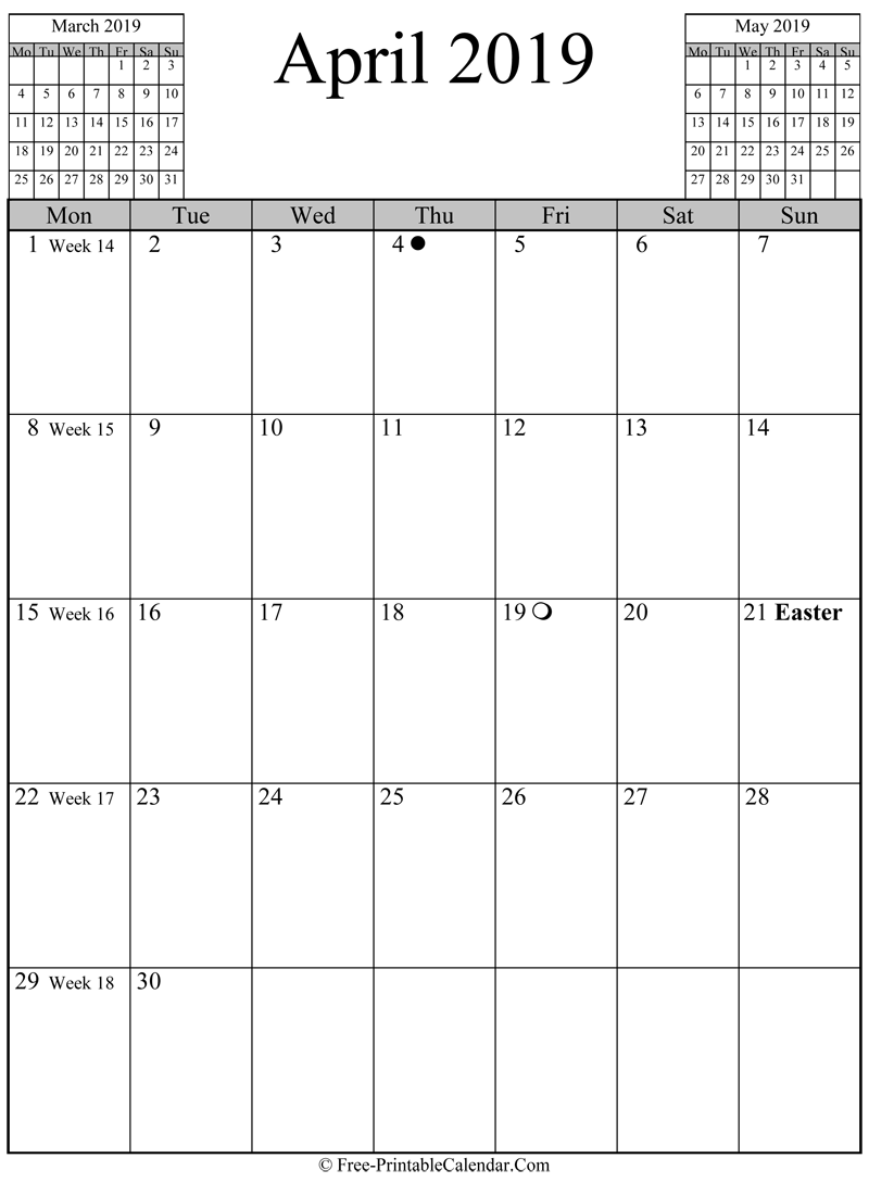 Vertical Calendar April 2019