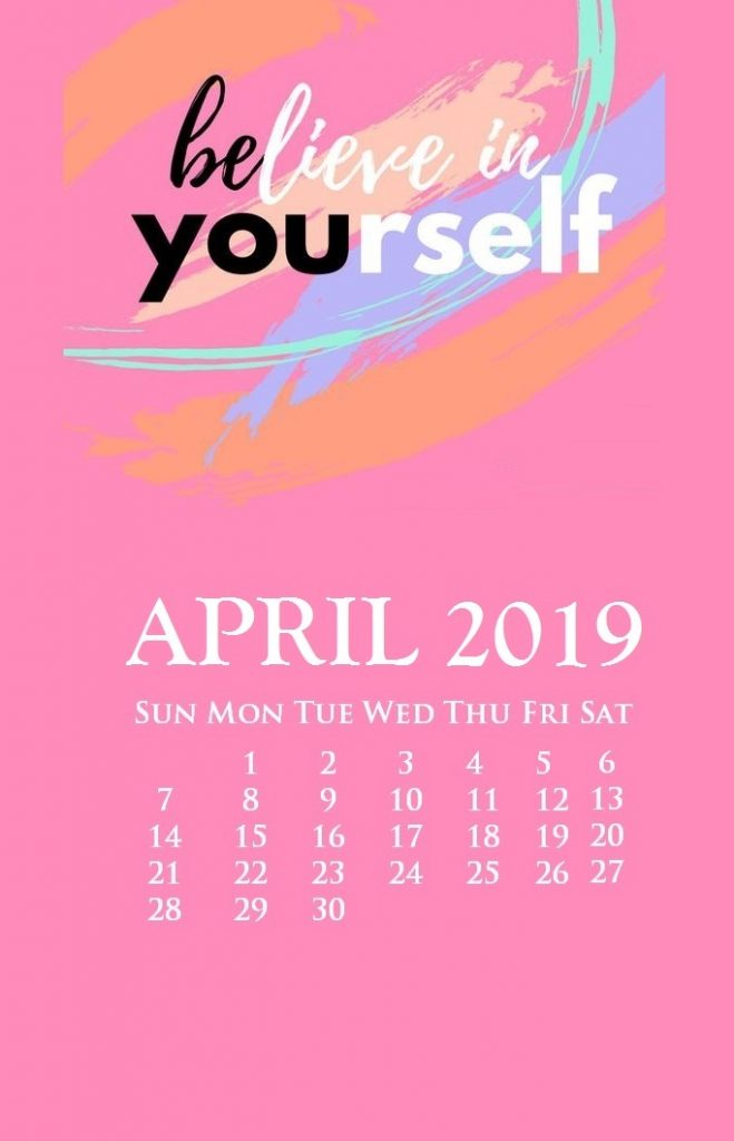 iPhone April 2019 Calendar With Quotes
