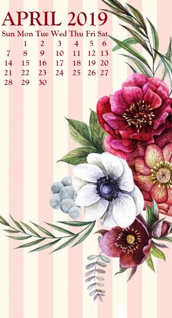 iPhone April 2019 Floral Calendar