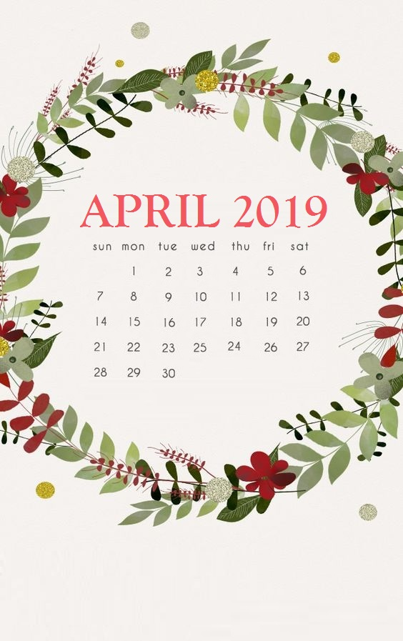 Cute April 2019 Calendar Floral Wallpaper