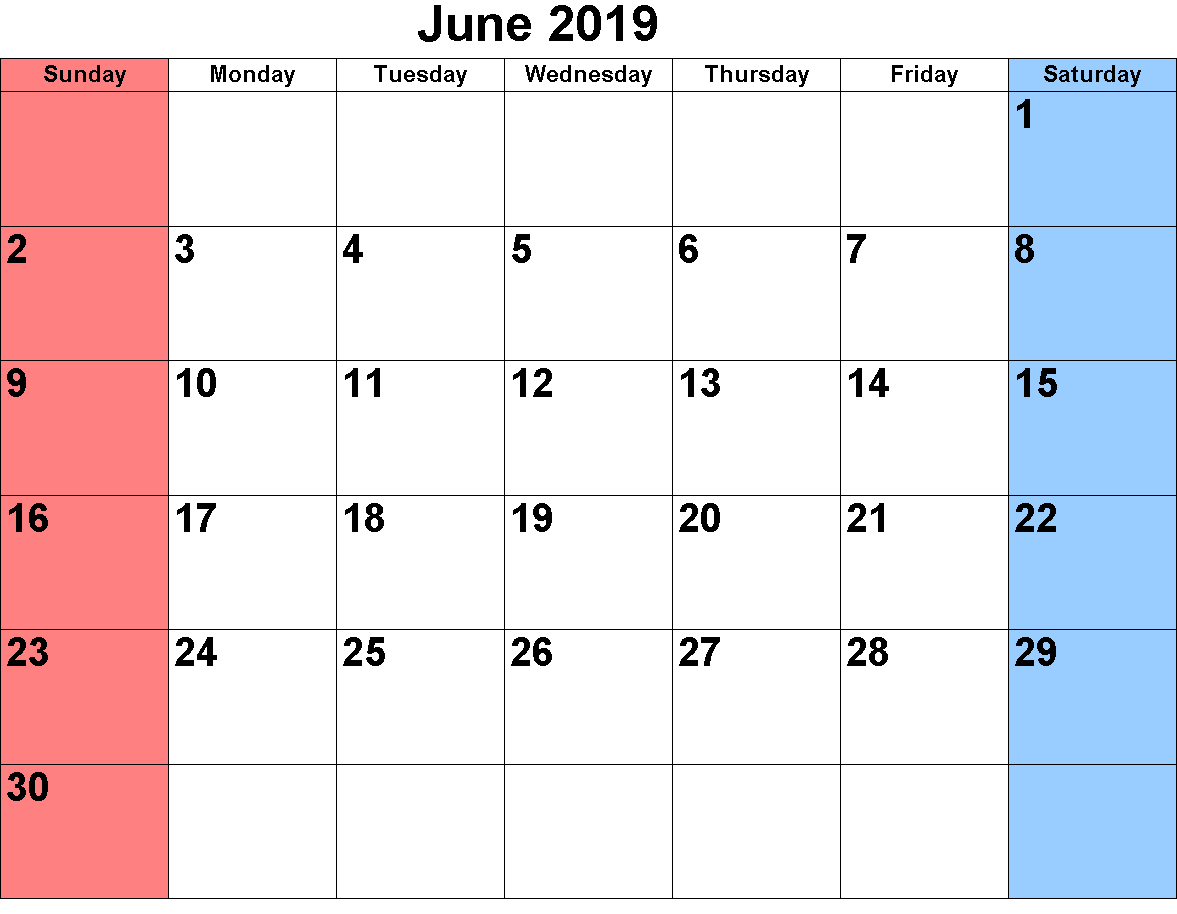 2019 Calendar June Excel Templates