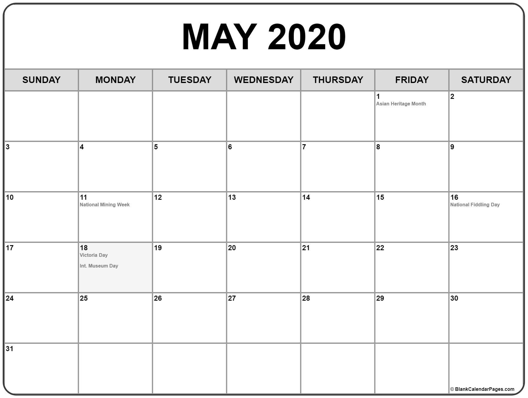2020 May Calendar Printable