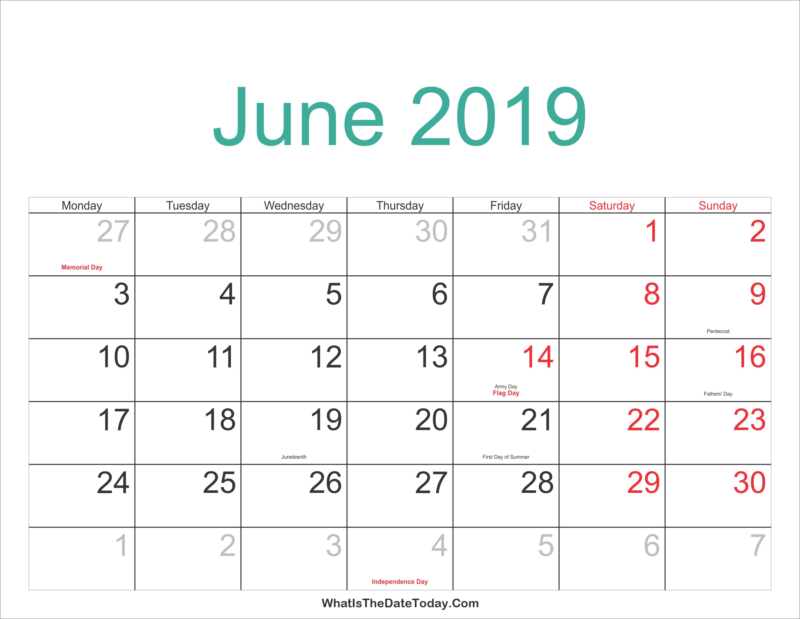 Blank Calendar for June 2019 Word