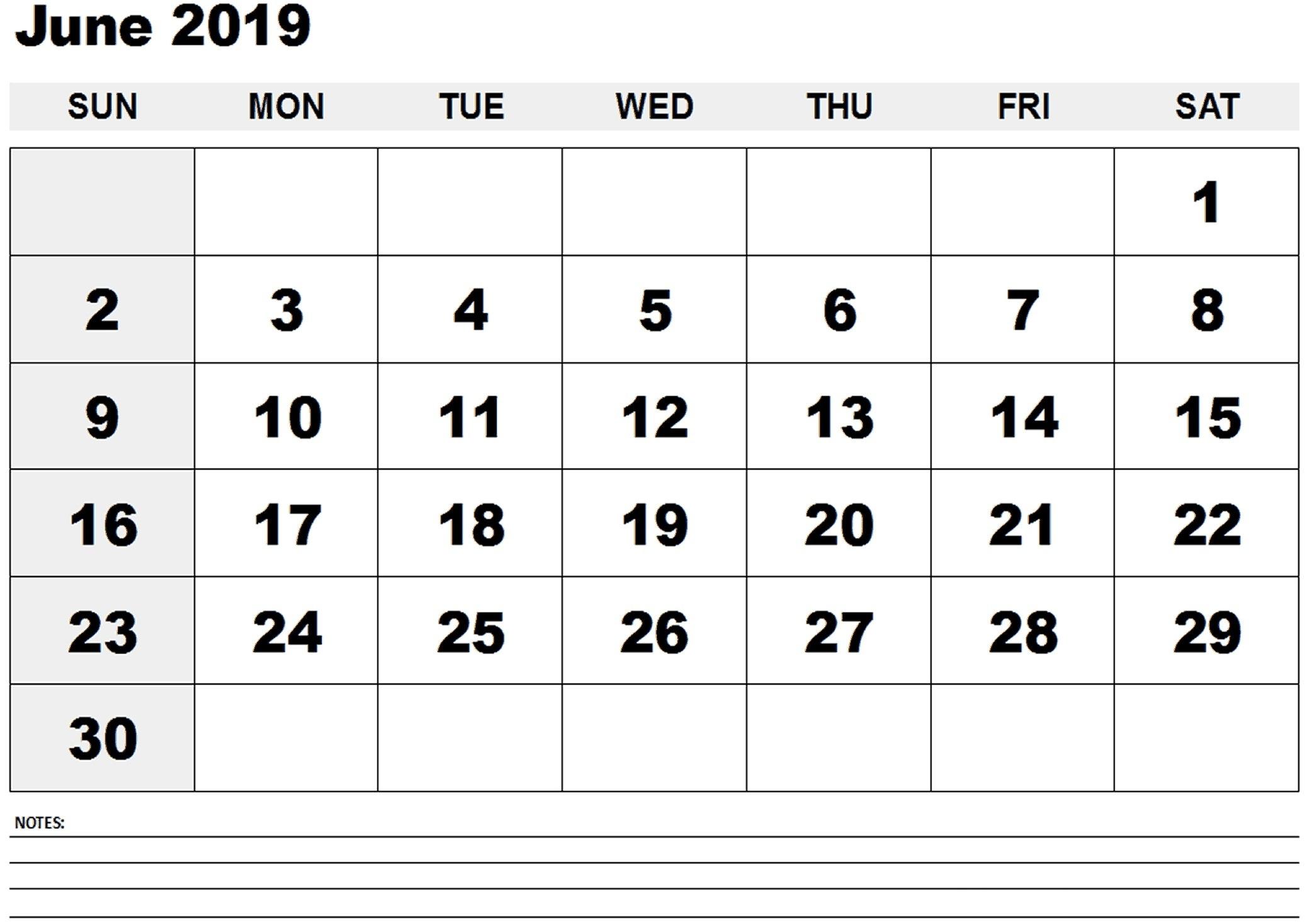 Blank June 2019 Calendar Printable Template