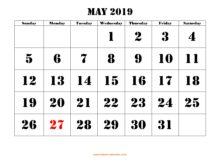 Blank May 2019 Calendar