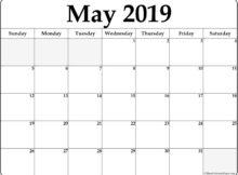 Blank May 2019 Calendar Templates