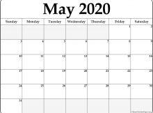 Blank May 2020 Calendar Template