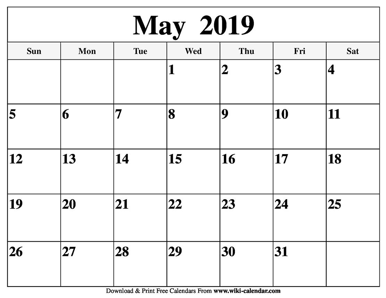 Blank May Month Calendar 2019