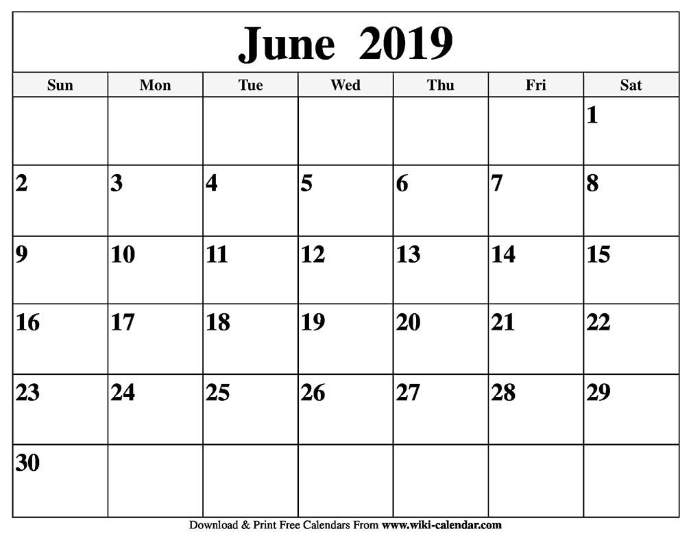 Calendar June 2019 In Pdf