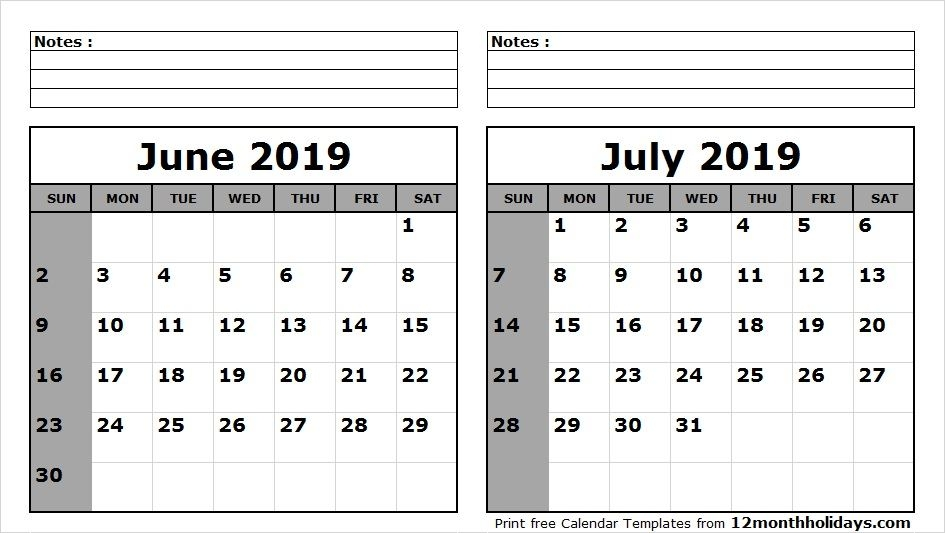 Calendar June July 2019 Printable Template
