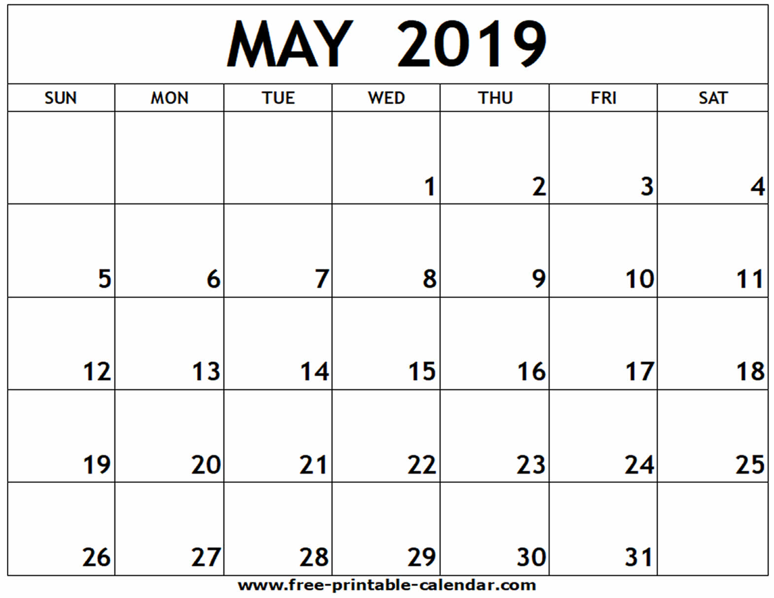 Calendar May 2019 Printable Sheet and Pages