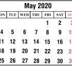 Calendar May 2020 Printable Template