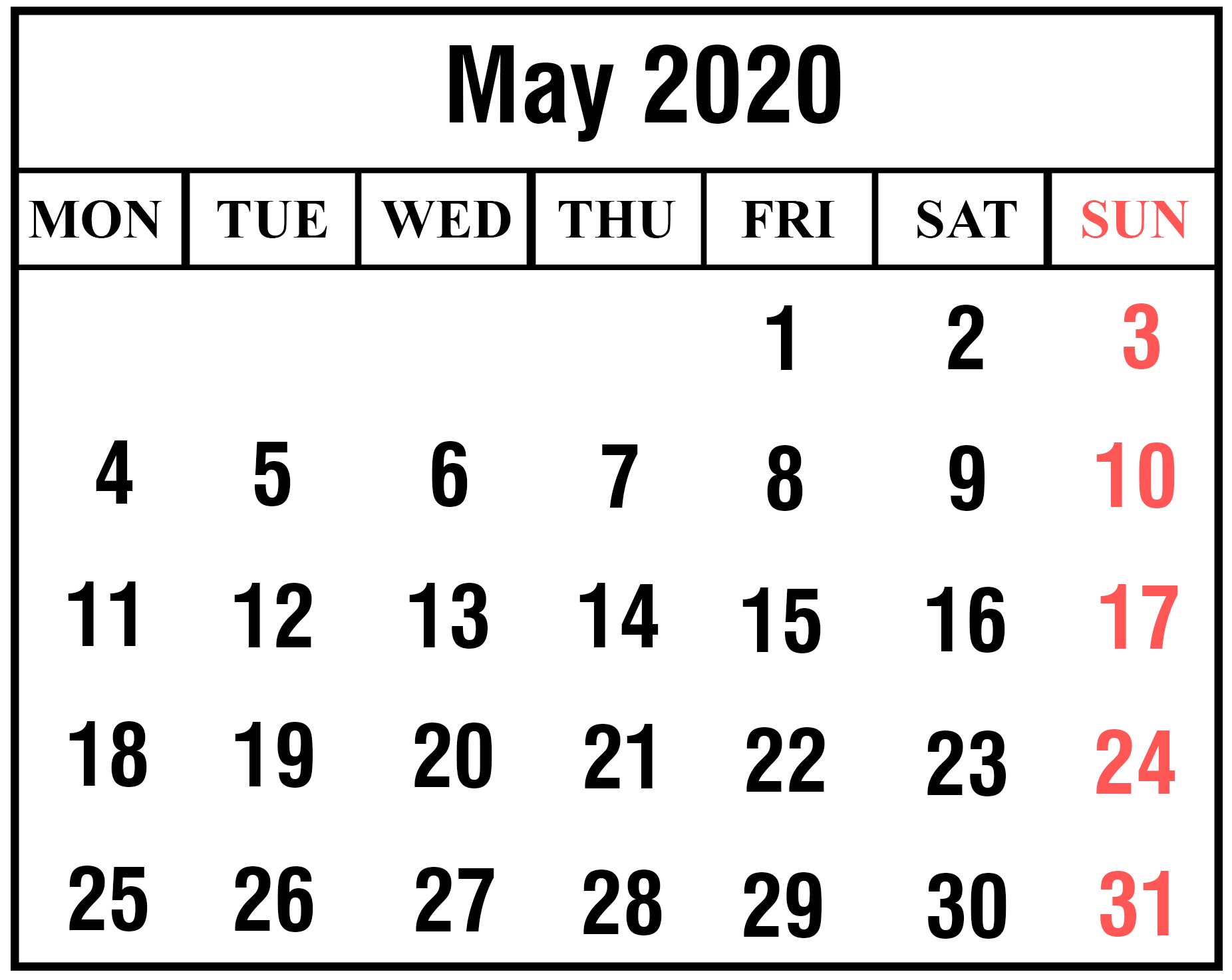 Calendar May 2020 Printable Template