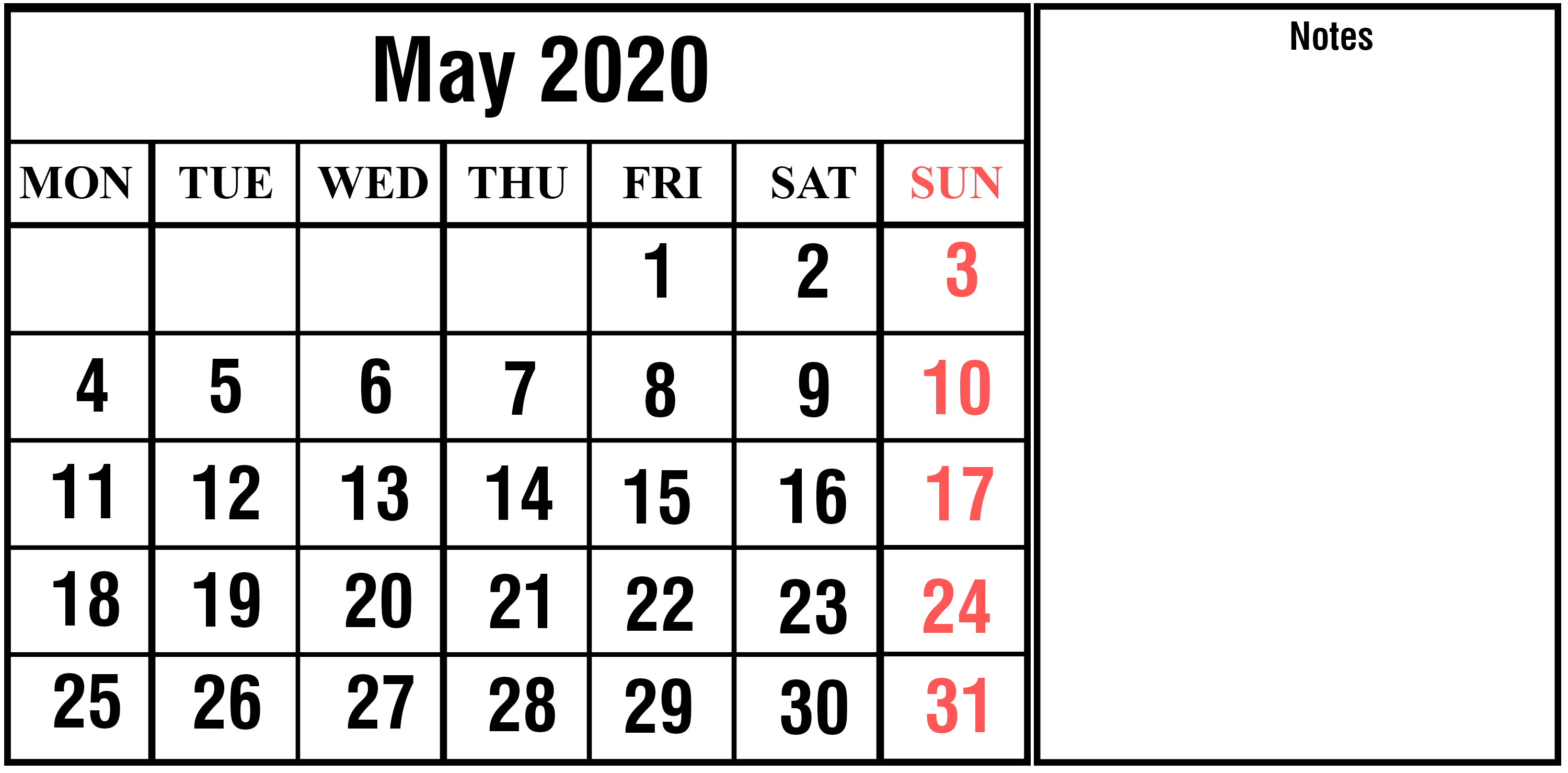 Calendar May 2020 Printable with Notes