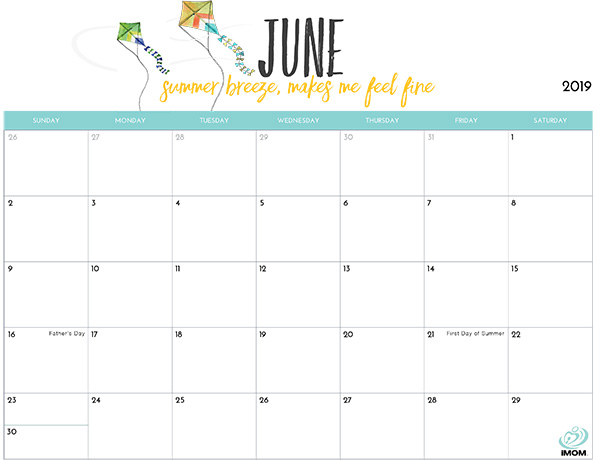 Calendar for June 2019 Excel to Print