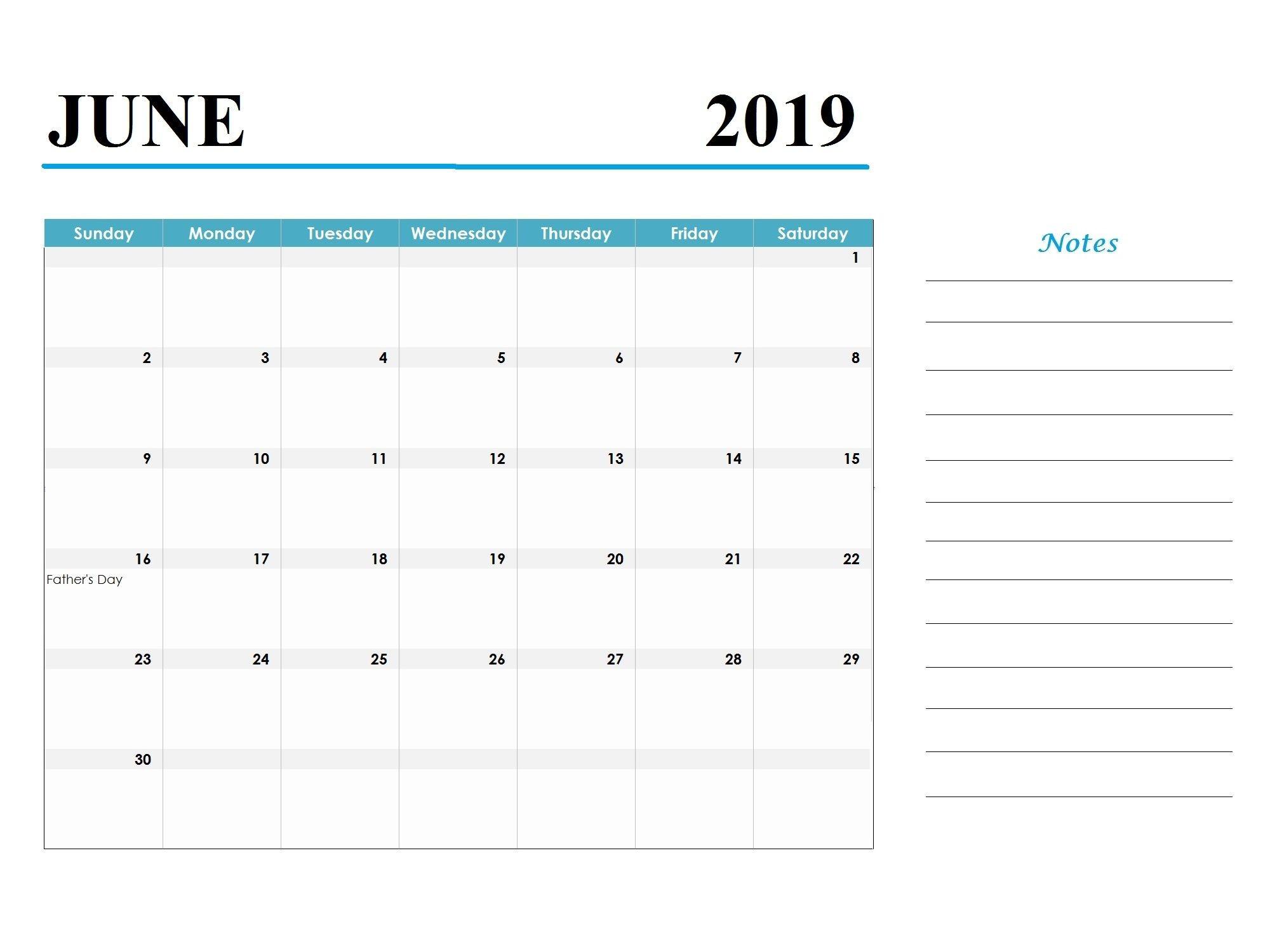 Cute June 2019 Calendar Floral Images