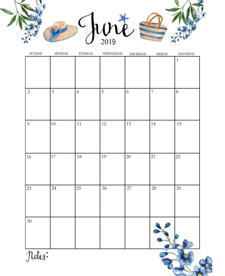 Cute June 2019 Calendar Floral Images