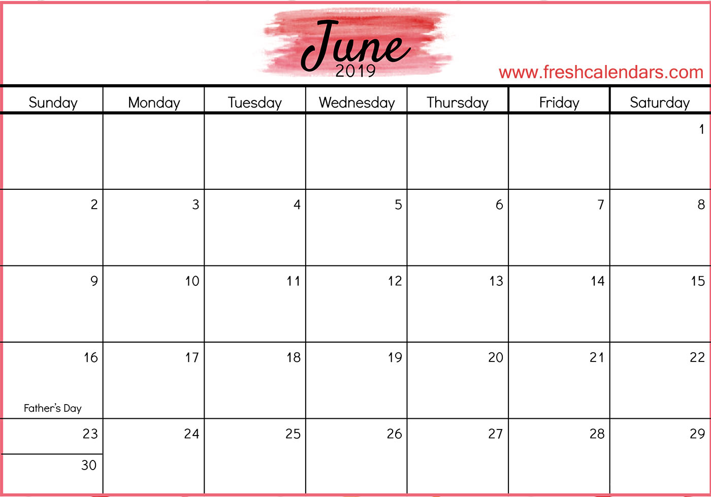 Cute June 2019 Calendar Template