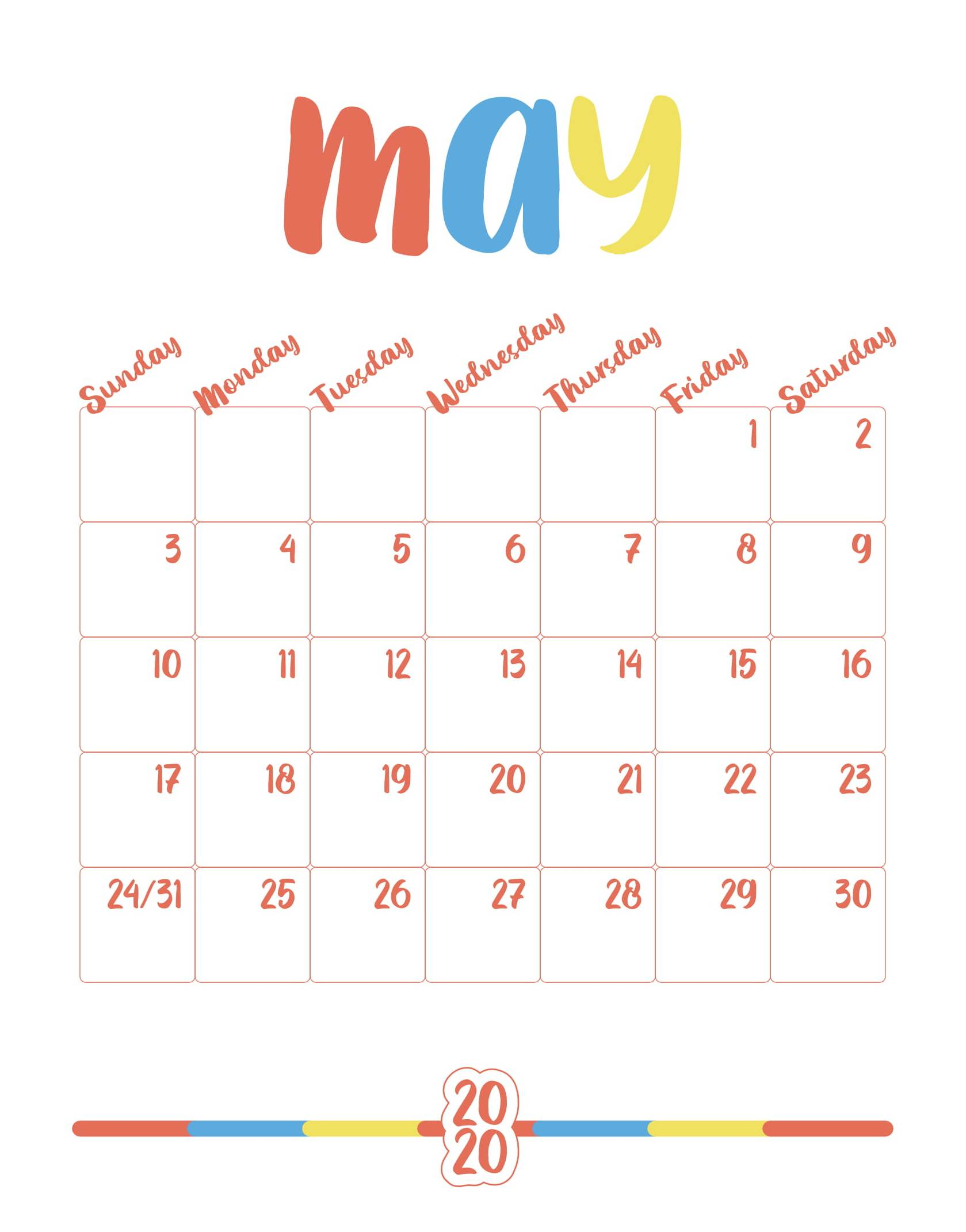 Cute Printable May 2020 Calendar