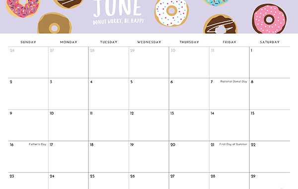 Decorative June 2019 Cute Calendar